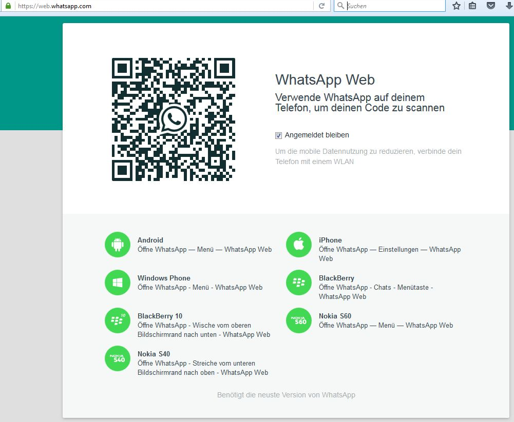 WhatsApp-Web Webseite