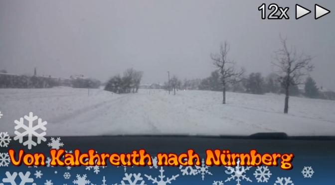 Winterliche Straßen – Fahrt von Kalchreuth nach Nürnberg